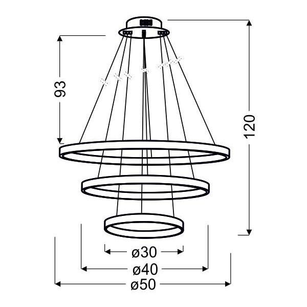 Lampa wisząca nowoczesna ring LUNE 60W neutralna chrom śr. 50cm