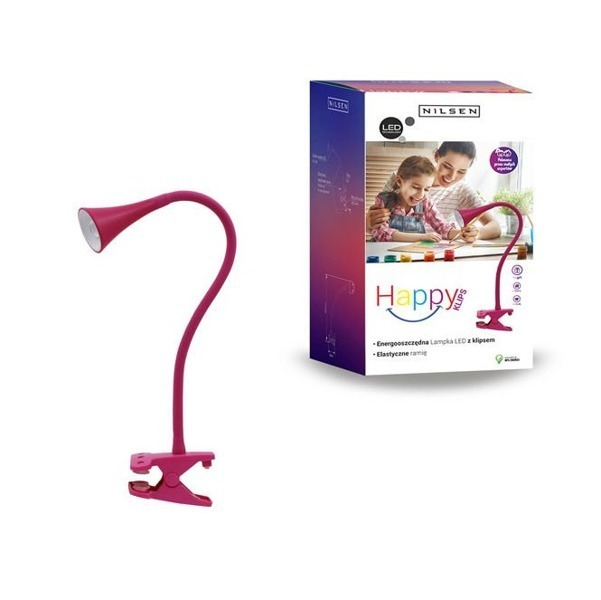Lampa LED KLIPS HAPPY flex różowa